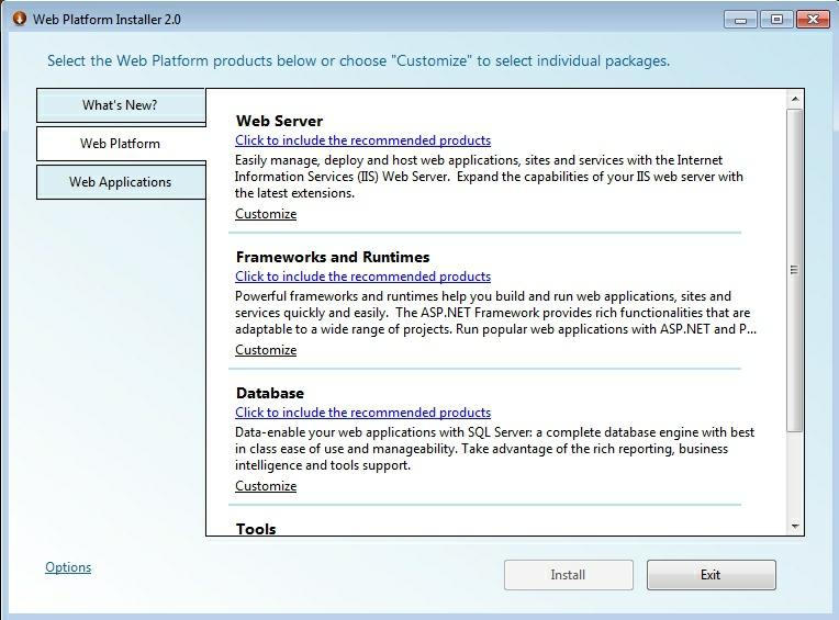 pasul 1 - selectarea componentelor pentru instalarea IIS