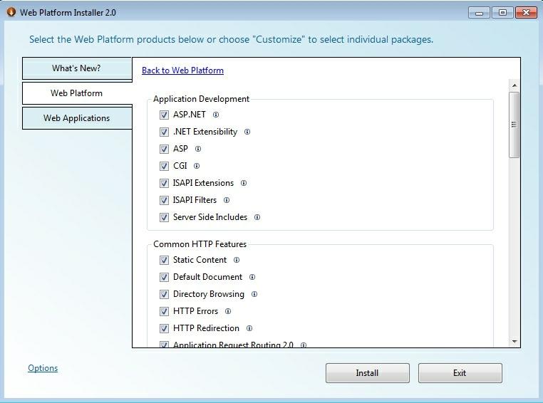 selectare componente pentru web server