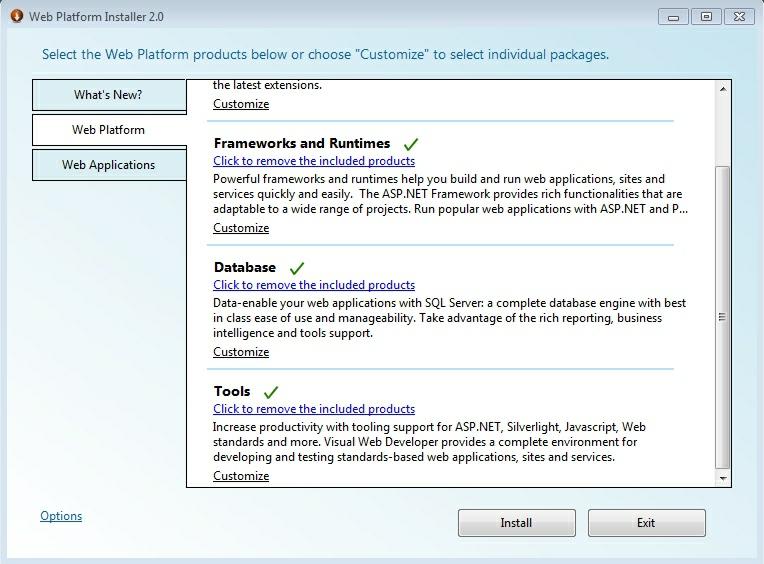 selectare componente web platform iis