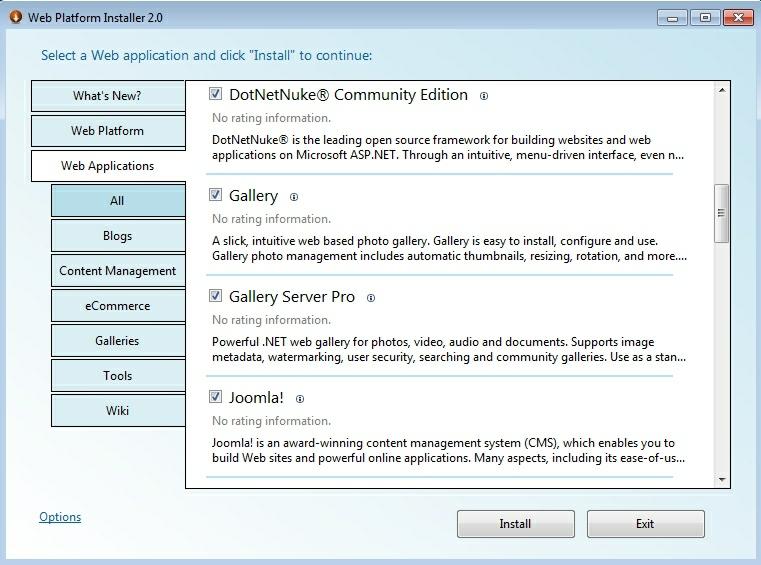 selectarea aplicatiilor web preinstalate
