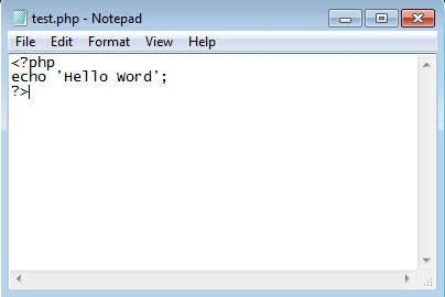 helo word php in iis